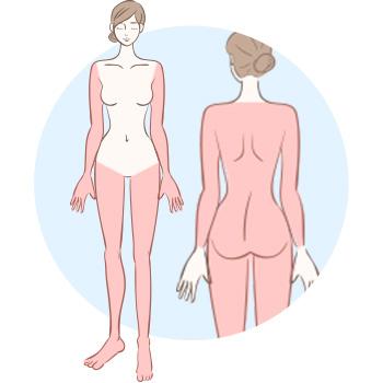 うなじ・胸部・腹部を除く全身が対象の「全身脱毛ライト」プラン